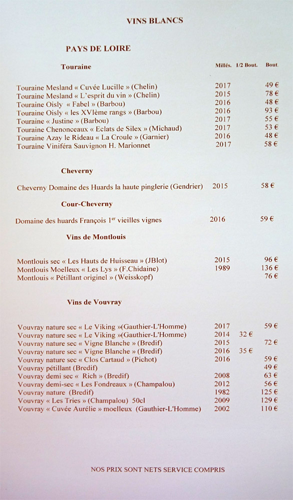 Vins blancs : Loire