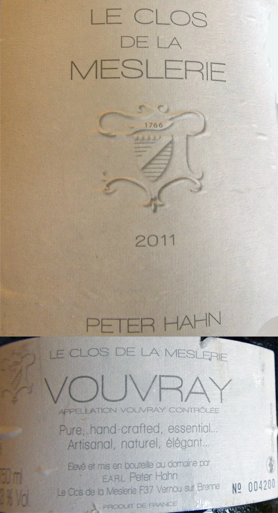 """Vouvray sec 2011 """"Le clos de la Meslerie"""" Peter Hahn"""