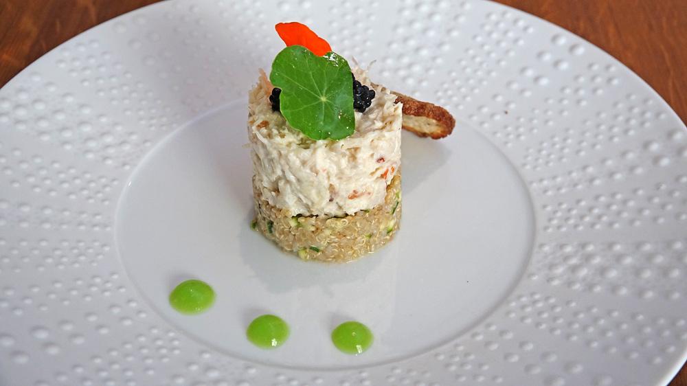 Tourteau décortiqué, quinoa et courgette