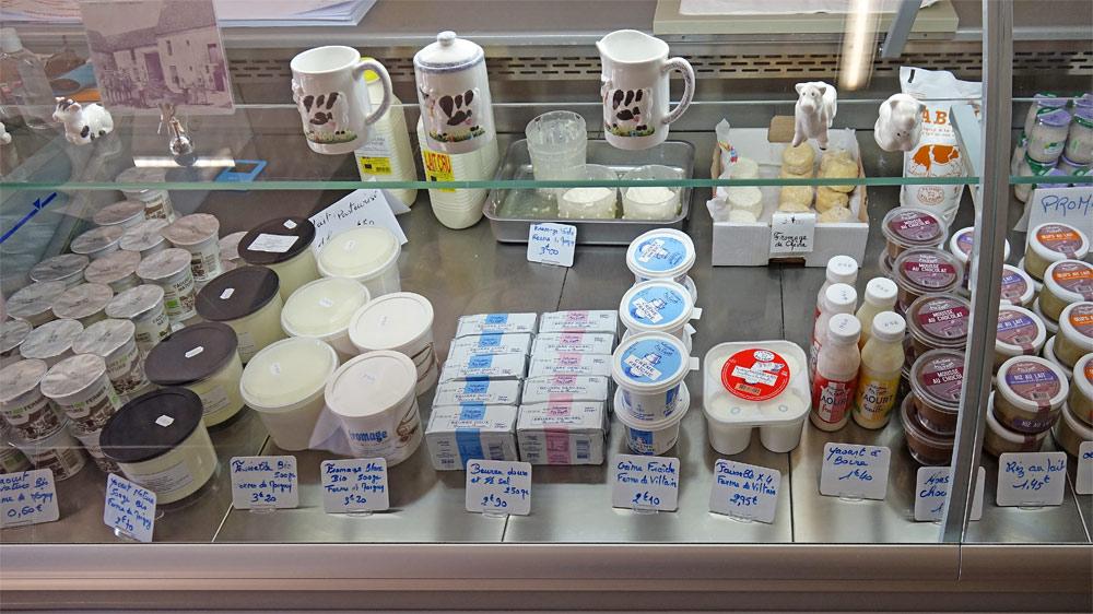 Produits laitiers en vente