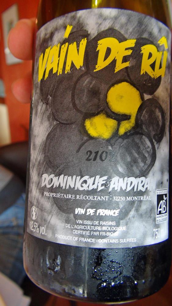 """Vin de France 2012 """"Vain de Rû"""": colombard, ugni blanc, muscadelle, petit courbut & sauvignon gris"""
