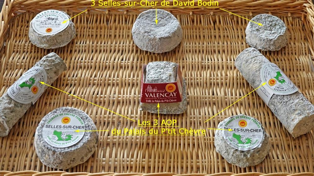 Les fromages achetés, en haut du plateau