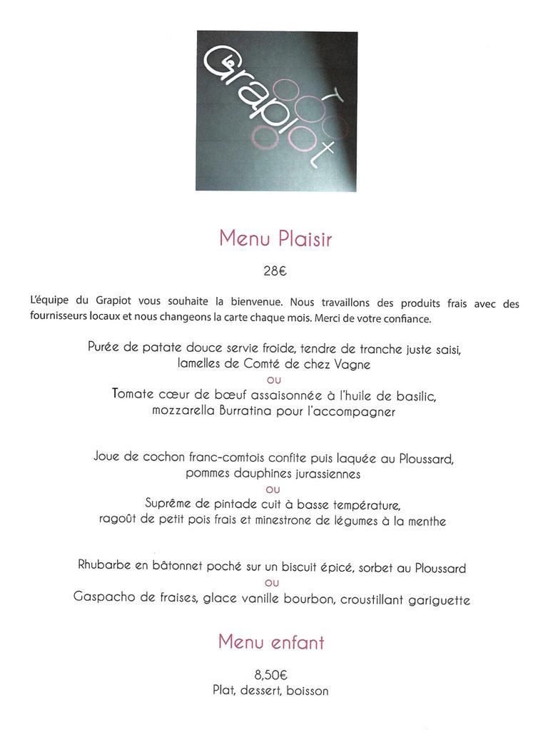 """Le menu """"Plaisir"""""""