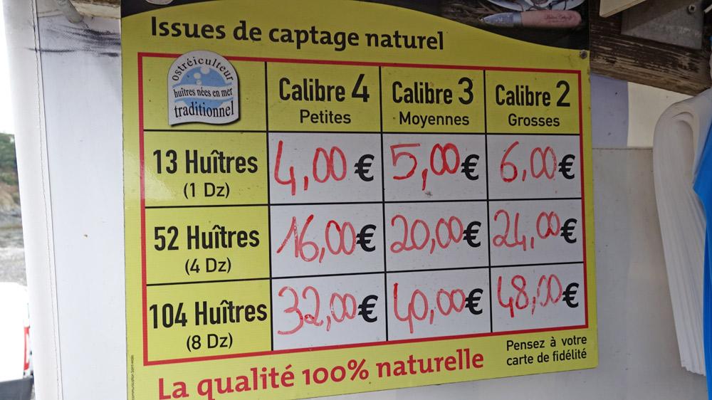 Prix des huîtres creuses  chez Cahue