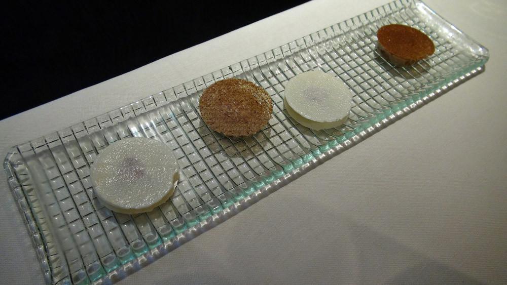 Palet amande/pomme verte/praliné noisette et Sablé aux noix et crème de son beurre