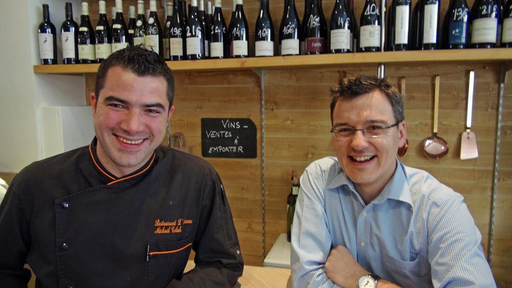Le chef, Mickaël Téluk et le nouveau sommelier, Loïc Ferry