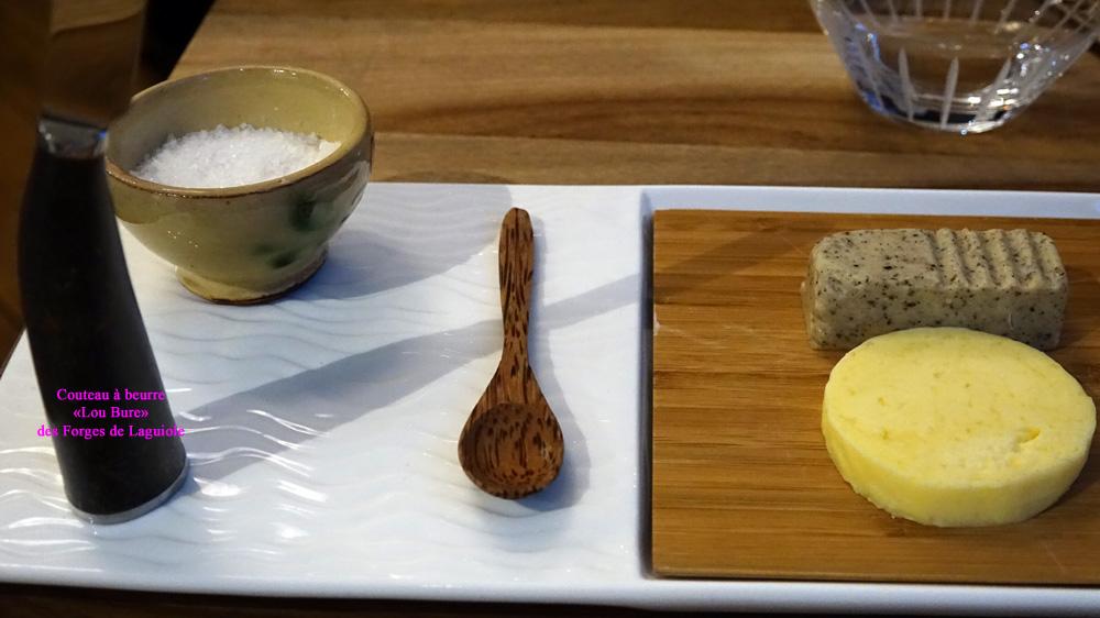 Les beurres et l'original couteau idoine des Forges de Laguiole