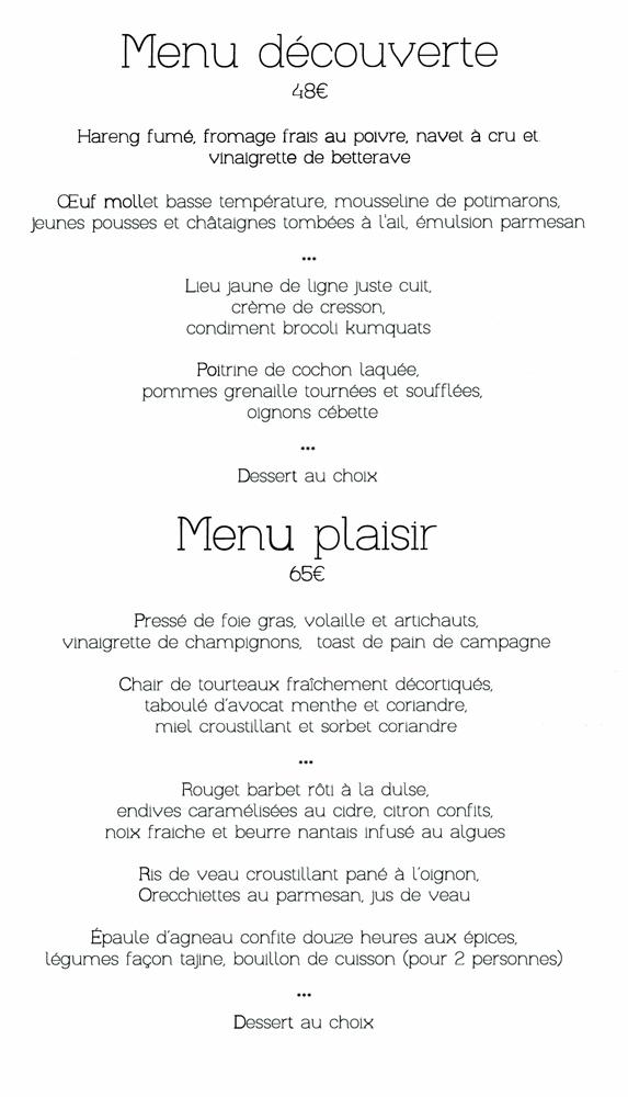 """Menus """"Découverte"""" et """"Plaisir"""""""
