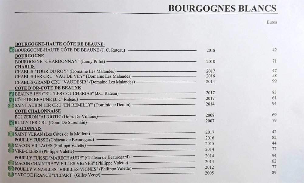 Bourgognes blancs