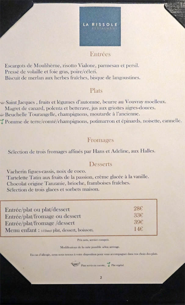 Le menu en 4 déclinaisons