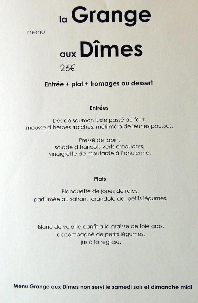 Menu la Grange aux Dîmes à 26 € 00