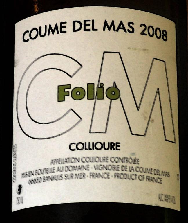 """Collioure blanc 2008 Coume Del Mas """"Folio"""""""