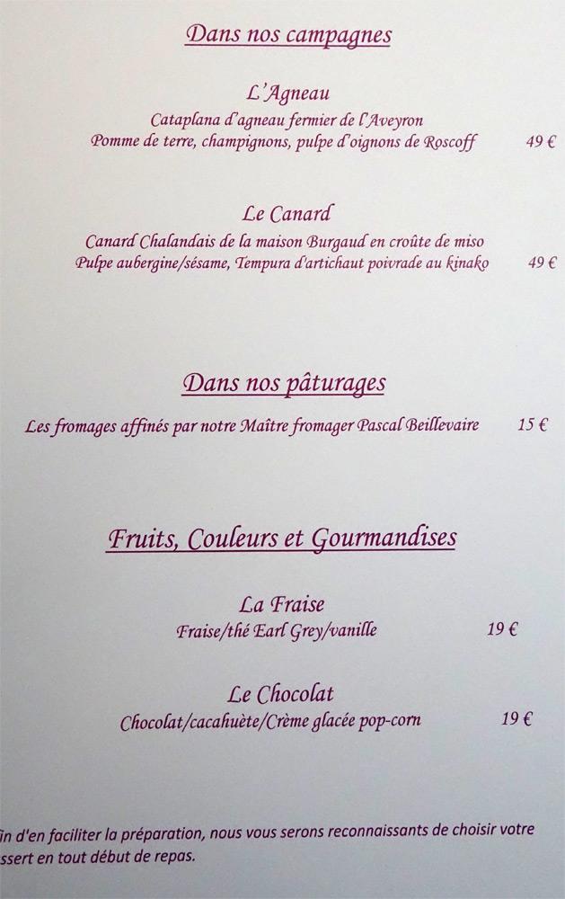 A la carte, viandes, fromages et dessert