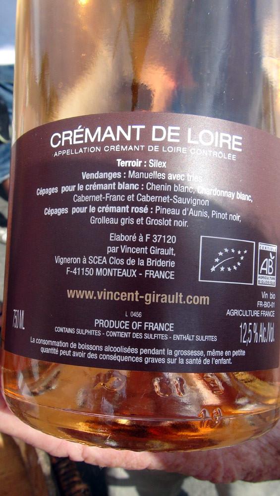 Crémant de Loire rosé de Vincent Girault