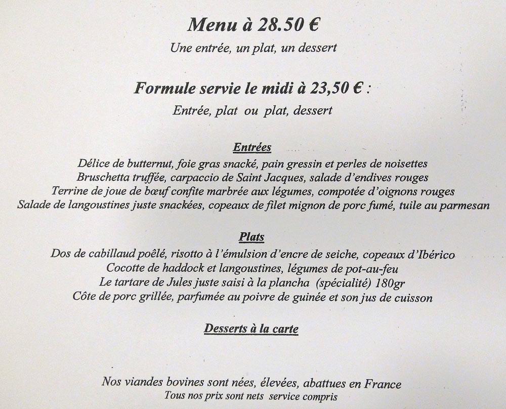 Menu à 28 € 50