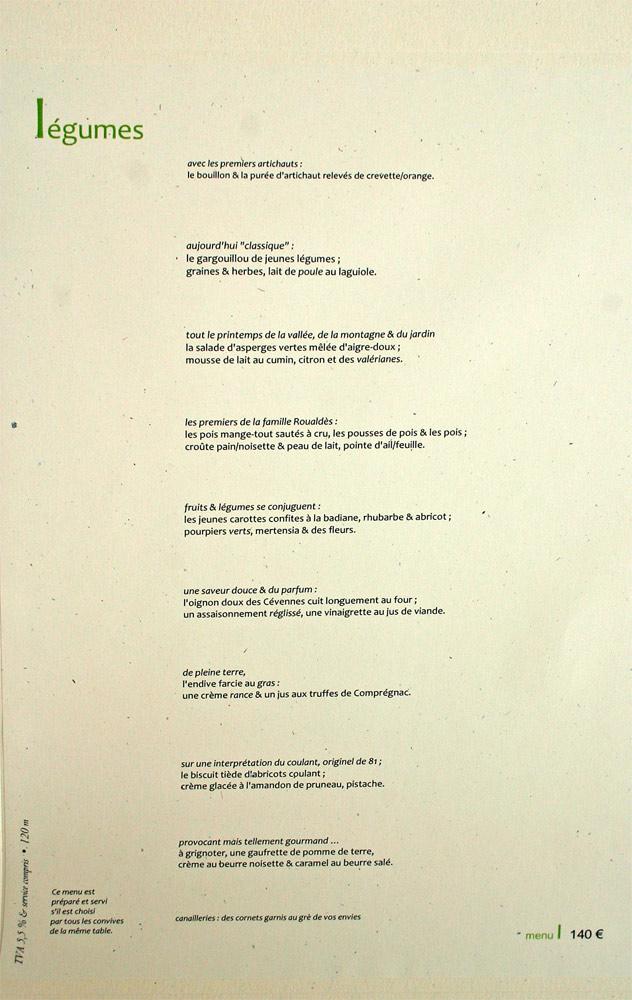 """Le menu """"Légumes"""""""