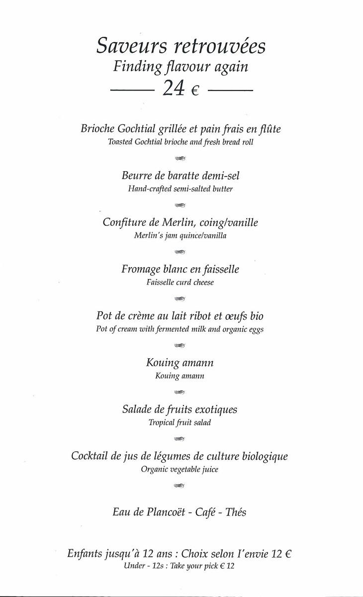 """Le petit-déjeuner """"Saveurs retrouvées"""""""