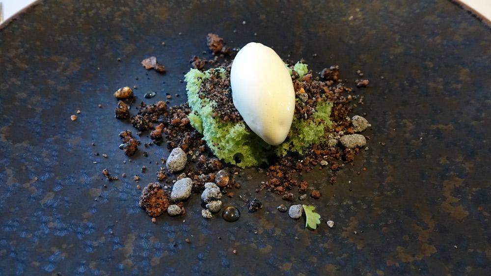 Balade au bois de la Chaize, crémeux et sable de chocolat (pour rappeler la terre), biscuit au thé vert (pour rappeler la mousse), crème glacée à la sève de pin