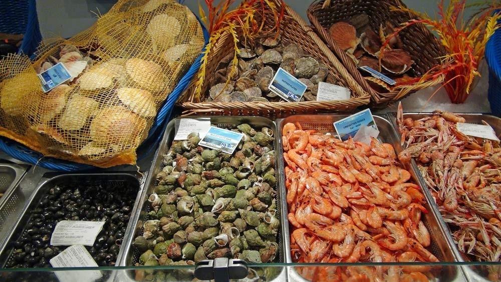 Bulot, crevette, langoustine, Saint-Jacques, huitre, bigorneau ...