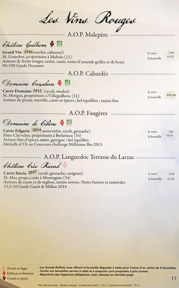 Vins rouges : AOP Malepère - AOP Cabardès - AOP Faugères -  AOP Languedoc Terrase du Larzac