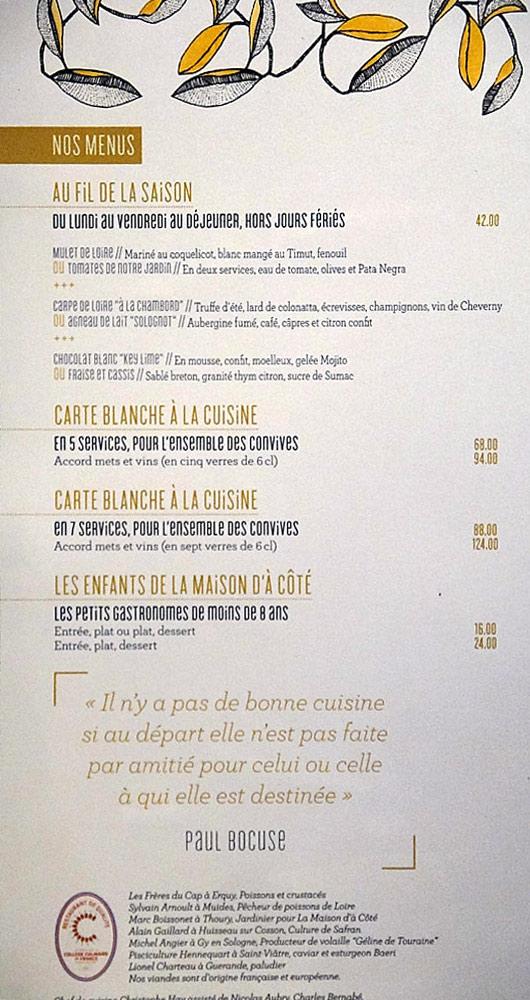 La carte et les menus