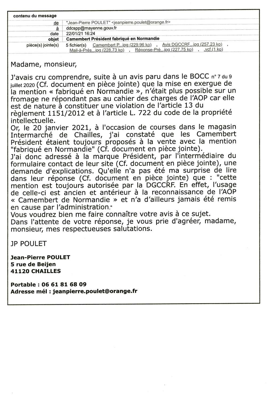 Courriel à DDCSPP de la Mayenne