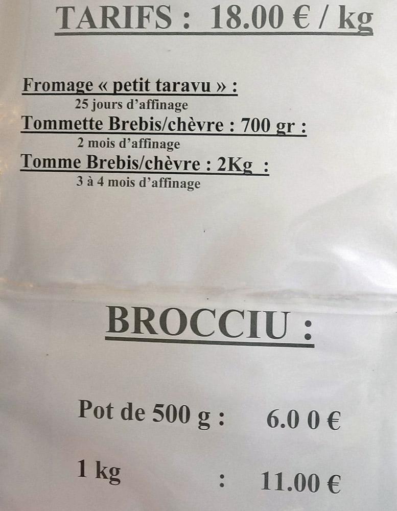 Tarifs de vente des fromages