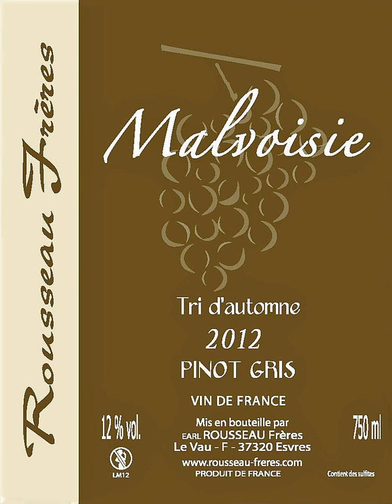 Étiquette Malvoisie 2012 - Source : site des frères Rousseau