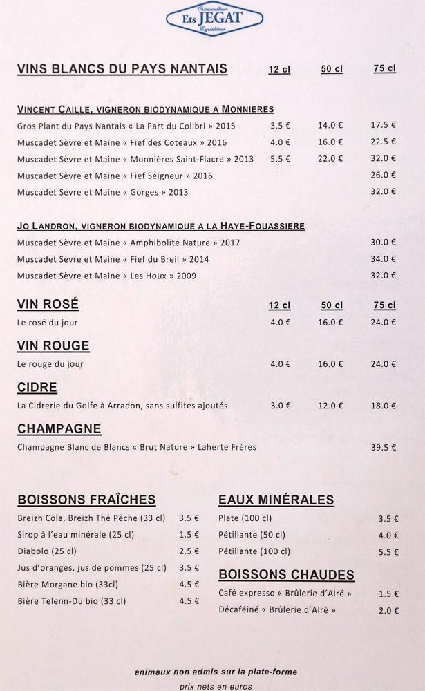 La carte des vins et autres boissons