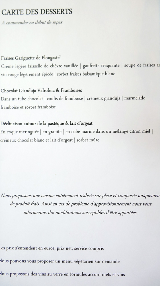 Carte des desserts réduite à 3 choix