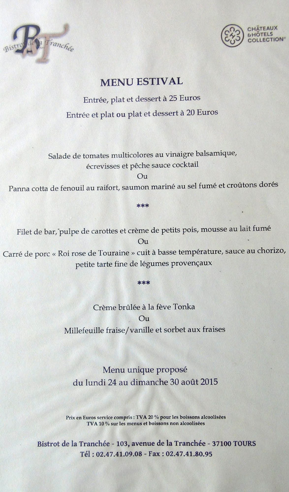 "Menu unique ""Estival"" à 25 € 00"