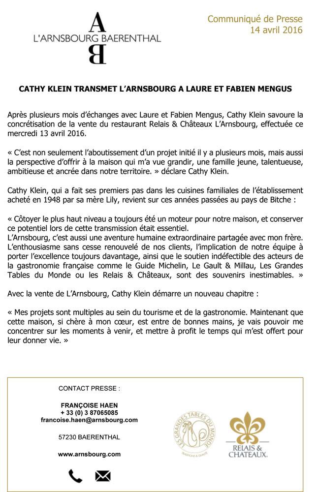 Communiqué de Kathy Klein à propos de la vente de l'Arnsbourg