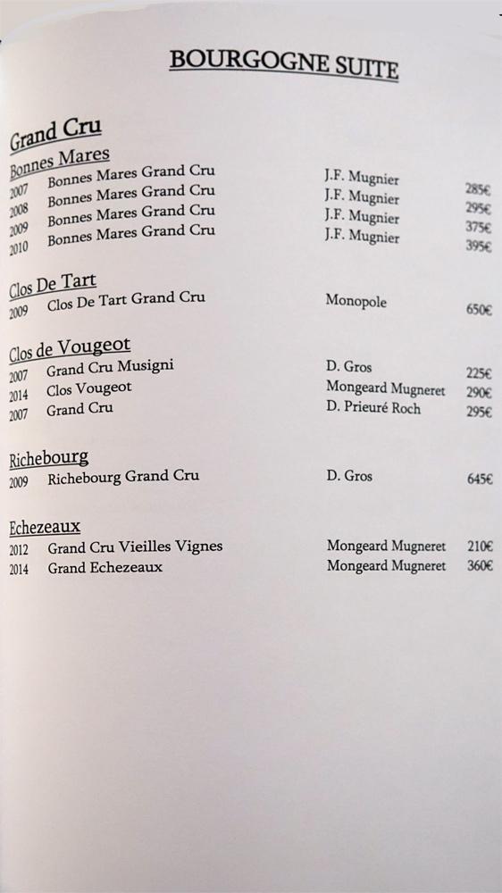 Bourgogne gd cru suite (11 références)