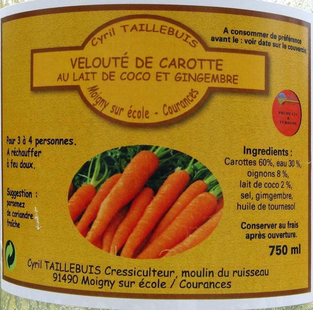 Velouté de carotte au lait de coco et gingembre