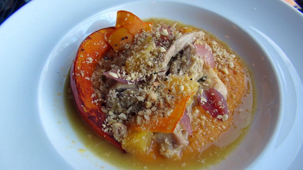 Effilochée de lapin toute moelleuse à l'orange, mousseline de patates douces