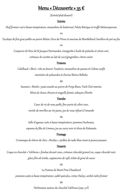 Le contenu de notre menu