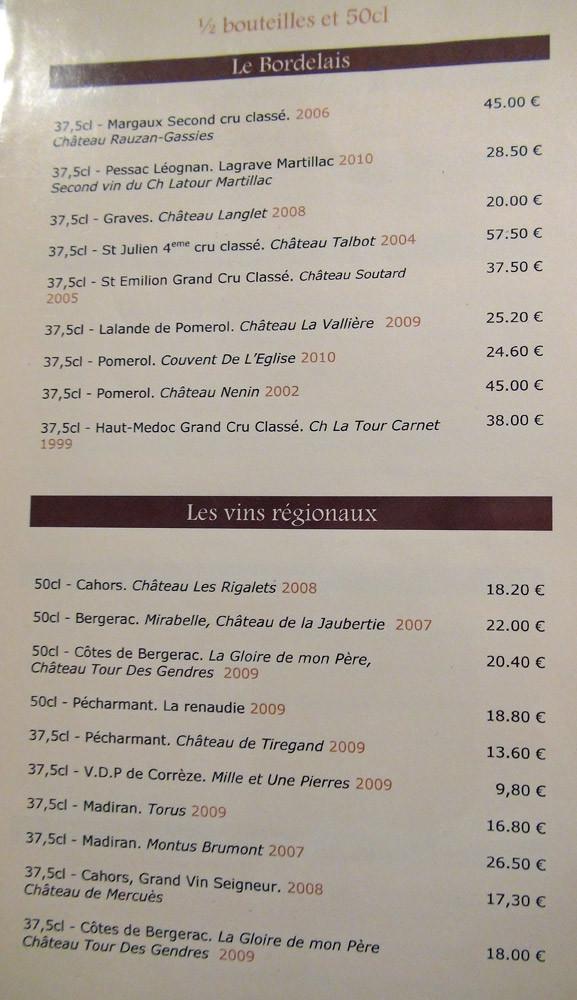Carte des vins : demi bouteilles & 50 cl, suite & fin