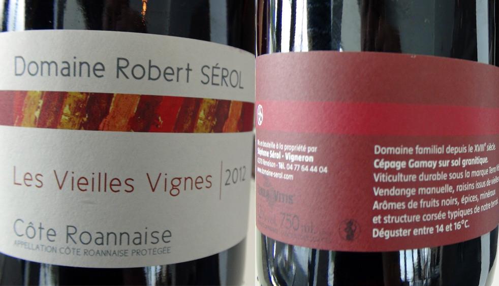 """Le Côtes Roannaises 2012 """"Robert Sérol"""""""