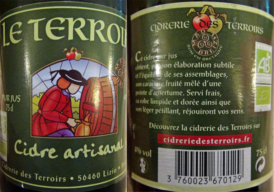 Cidre Le Terroir à partir de pommes bio)