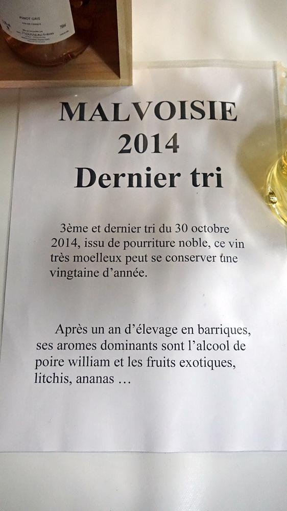 Malvoise (ou Pinot gris) Dernier tri 2014