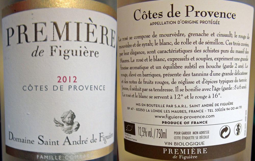 """Côtes de Provence """"Saint André de Figuière"""" 2012"""