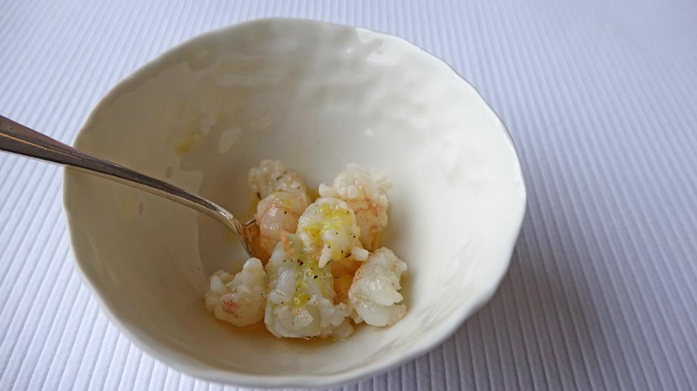 Amuse-bouche : crevettes au beurre demi-sel