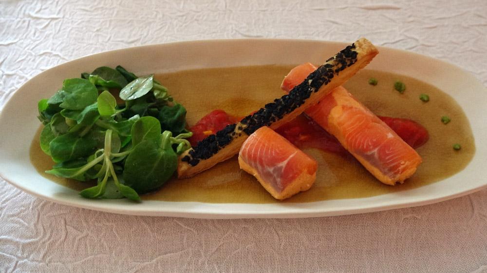 Cannelloni saumon frais et fumé, sacristain aux Olives