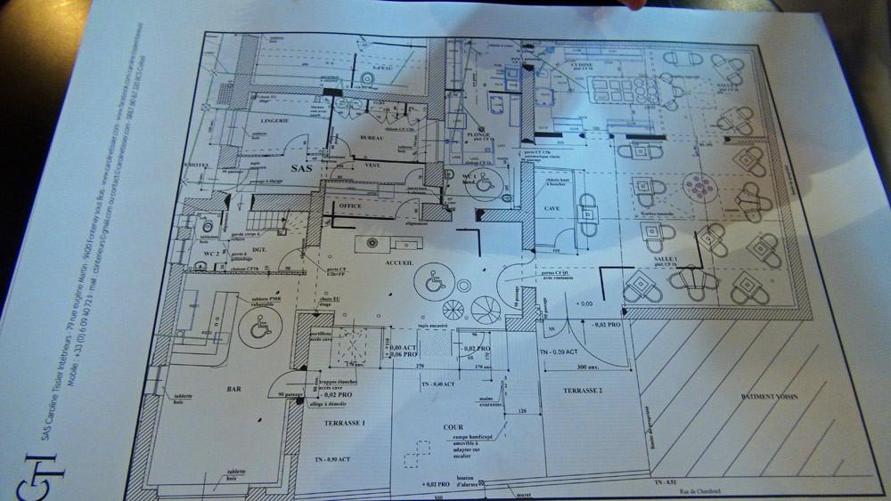"""Le plan des futurs locaux du restaurant """"La Maison de Christophe"""""""