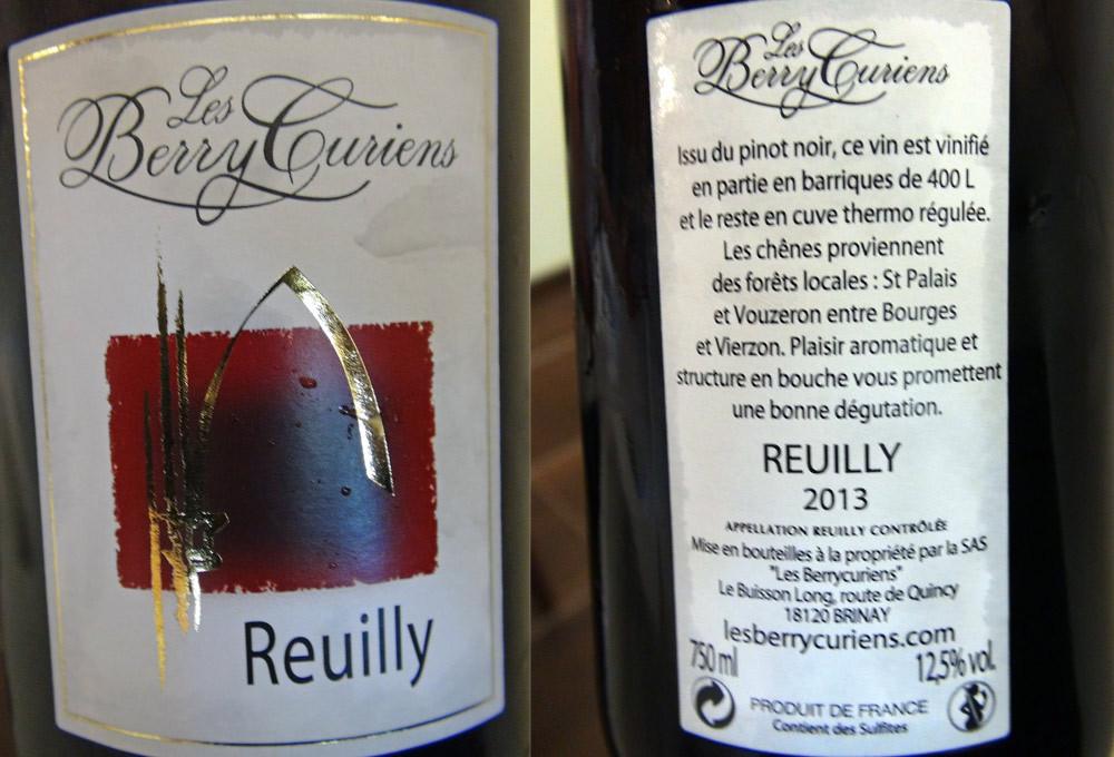 """Reuilly rouge 2013 des BerryCuriens (""""cuvée mal au crâne"""" !)"""