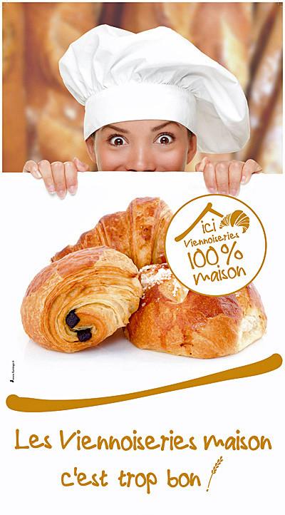 """L'affiche qui signale les adhérents à la charte des """"Viennoiseries faites maison"""""""