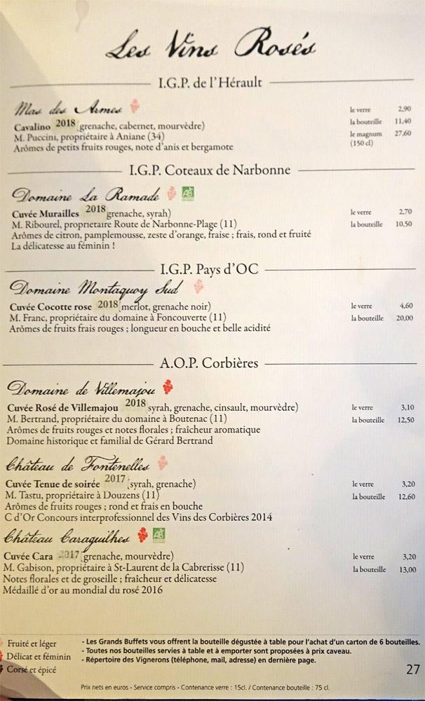 Vins rosés : IGP de l'Hérault - IGP Côteaux de Narbonne - IGP Pays d'Oc - AOP Corbières
