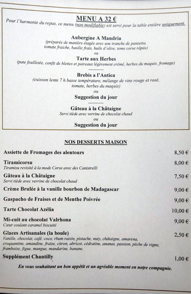 Menu à 32 € 00 Desserts