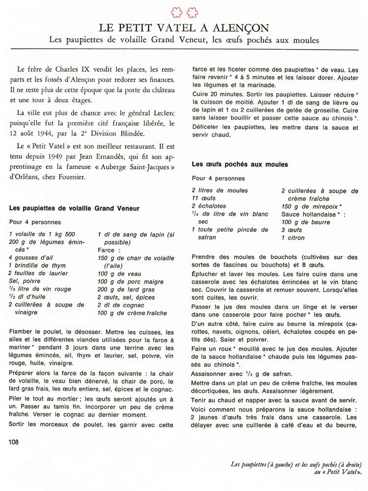 Recettes du chef Jean Ernandès - Crédit photo : La cuisine aux étoiles (Opera Mundi 1970)