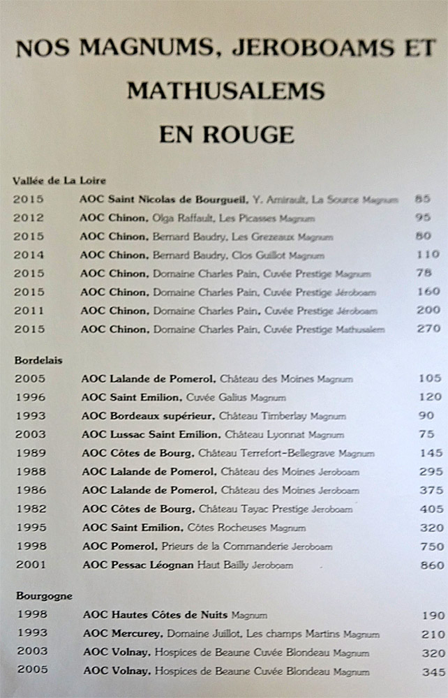 Vins rouges en Magnums, Jéroboams et Mathusalem